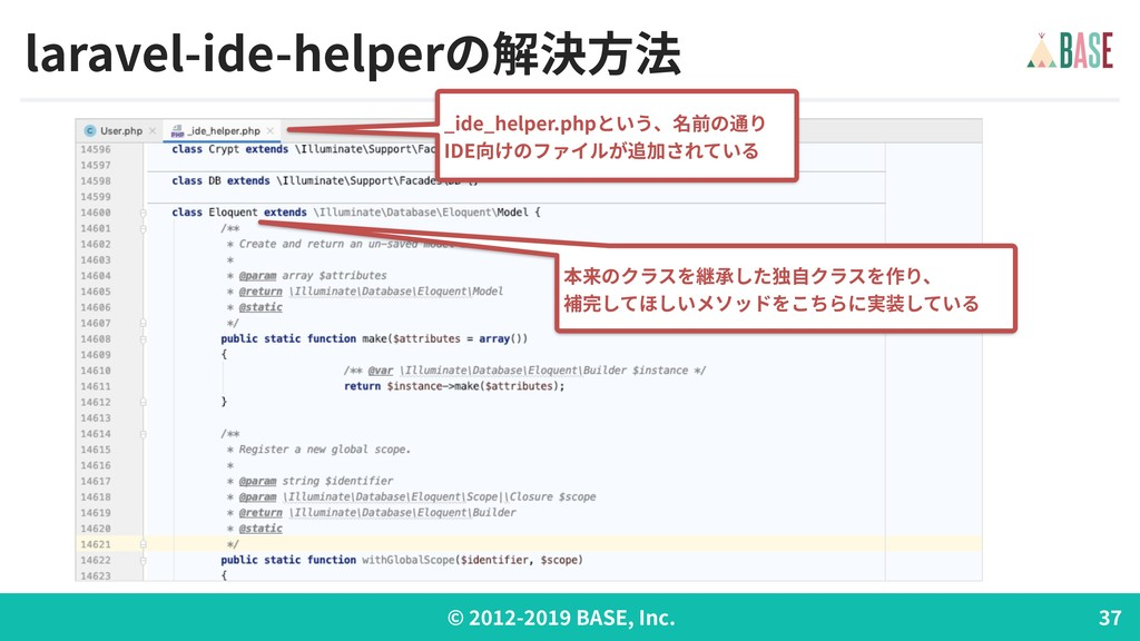 © - BASE, Inc. laravel-ide-helperの解決⽅法 _ide_hel...
