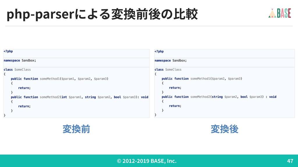 © - BASE, Inc. php-parserによる変換前後の⽐較 変換前 変換後