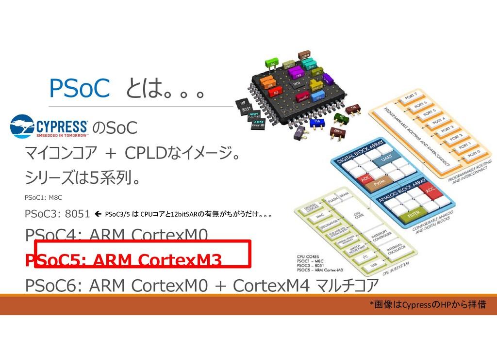 PSoC とは。。。 のSoC マイコンコア + CPLDなイメージ。 シリーズは5系列。 P...