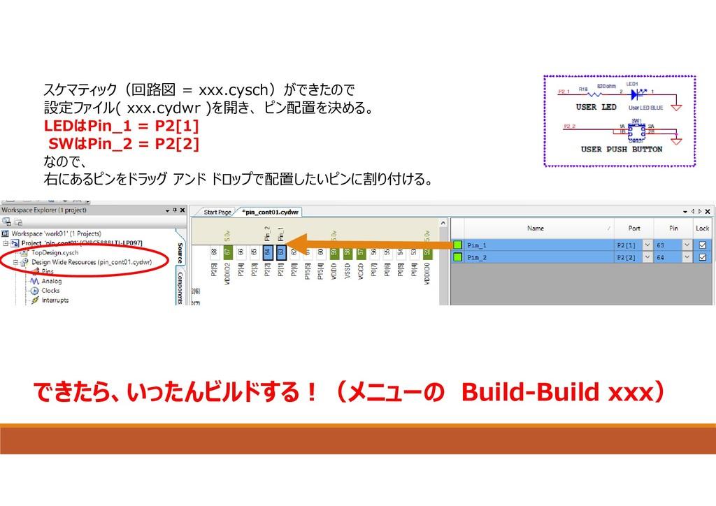 スケマティック(回路図 = xxx.cysch)ができたので 設定ファイル( xxx.cydw...