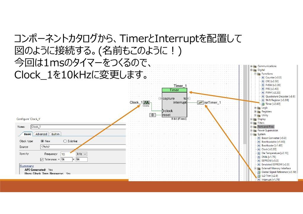 コンポーネントカタログから、TimerとInterruptを配置して 図のように接続する。(名...
