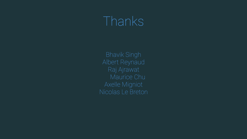 Thanks Bhavik Singh Albert Reynaud Raj Ajrawat ...