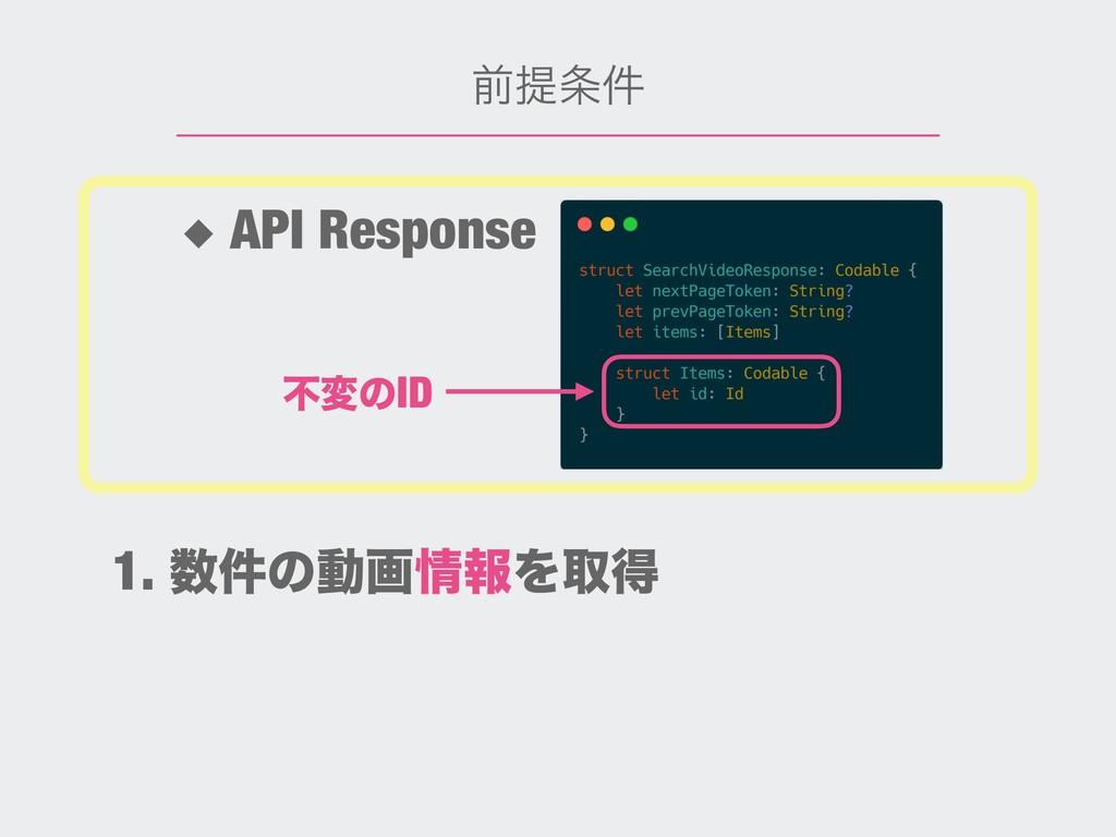 લఏ݅ ◆ API Response ෆมͷID 1. ݅ͷಈըใΛऔಘ