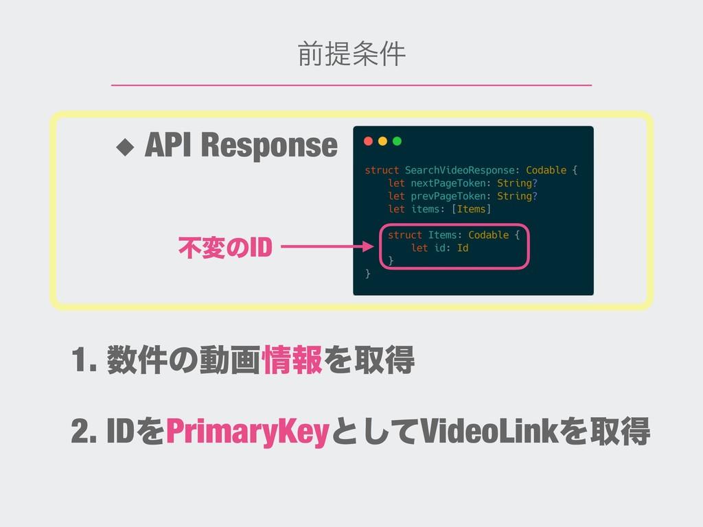 લఏ݅ ◆ API Response ෆมͷID 2. IDΛPrimaryKeyͱͯ͠Vi...