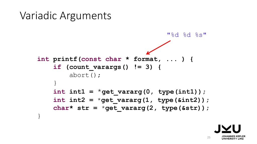 Variadic Arguments 25 int printf(const char * f...
