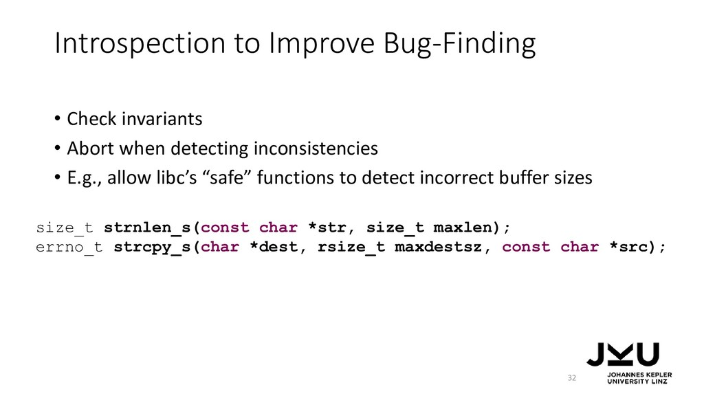 Introspection to Improve Bug-Finding • Check in...