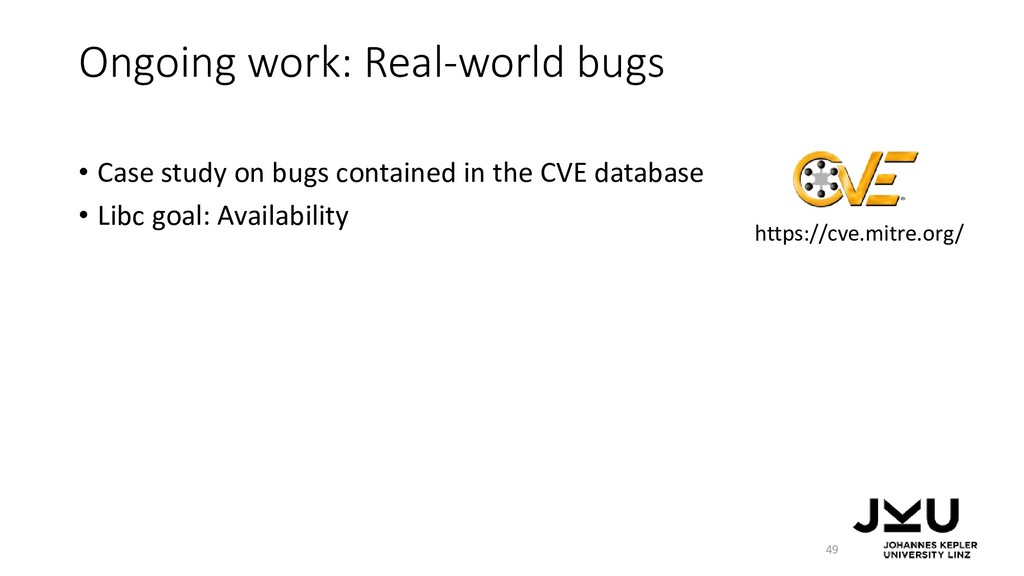 Ongoing work: Real-world bugs • Case study on b...