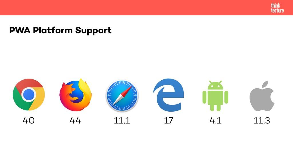 PWA Platform Support 40 44 11.1 17 4.1 11.3