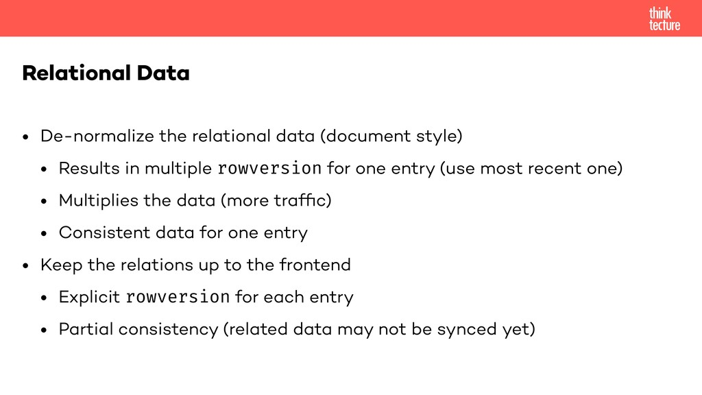 • De-normalize the relational data (document st...