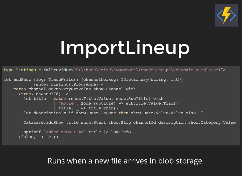 """ImportLineup type Listings = XmlProvider<""""D:\\h..."""