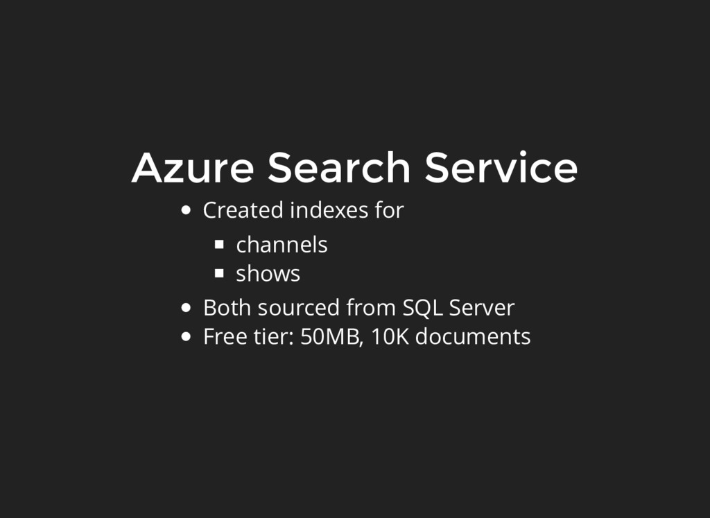 Azure Search Service Created indexes for channe...