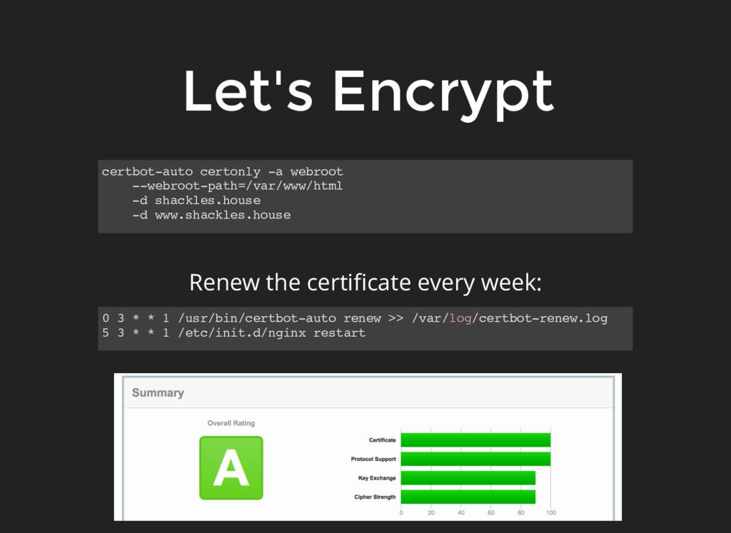 Let's Encrypt certbot-auto certonly -a webroot ...