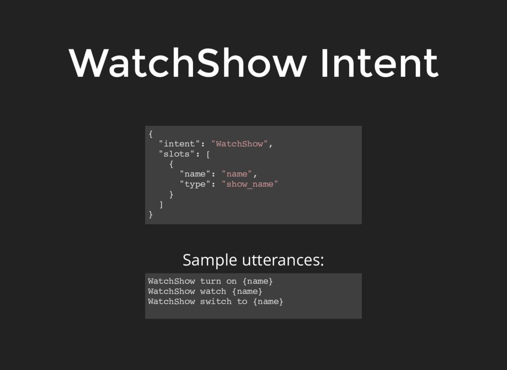 "WatchShow Intent { ""intent"": ""WatchShow"", ""slot..."