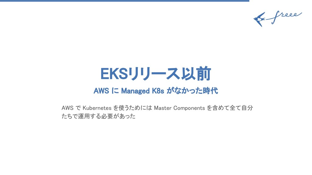 EKSリリース以前 AWS に Managed K8s がなかった時代 AWS で Kub...