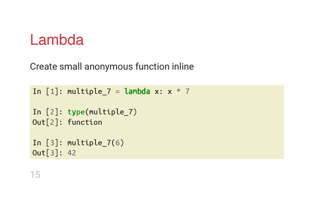 Lambda Create small anonymous function inline I...