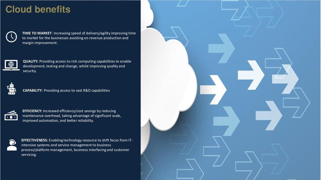Cloud benefits TIME TO MARKET: Increasing speed...