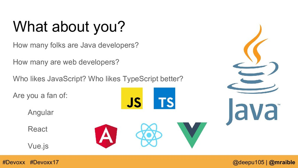 What about you? How many folks are Java develop...