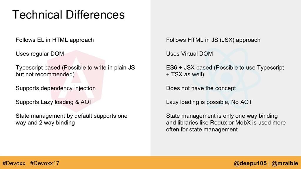 Follows EL in HTML approach Uses regular DOM Ty...