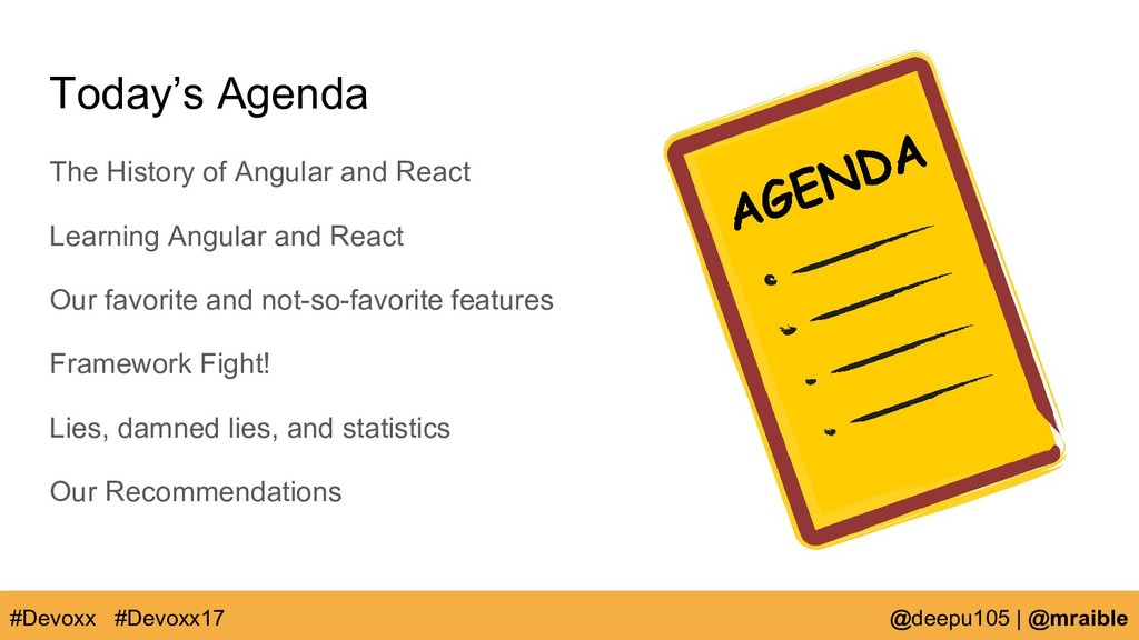 Today's Agenda The History of Angular and React...
