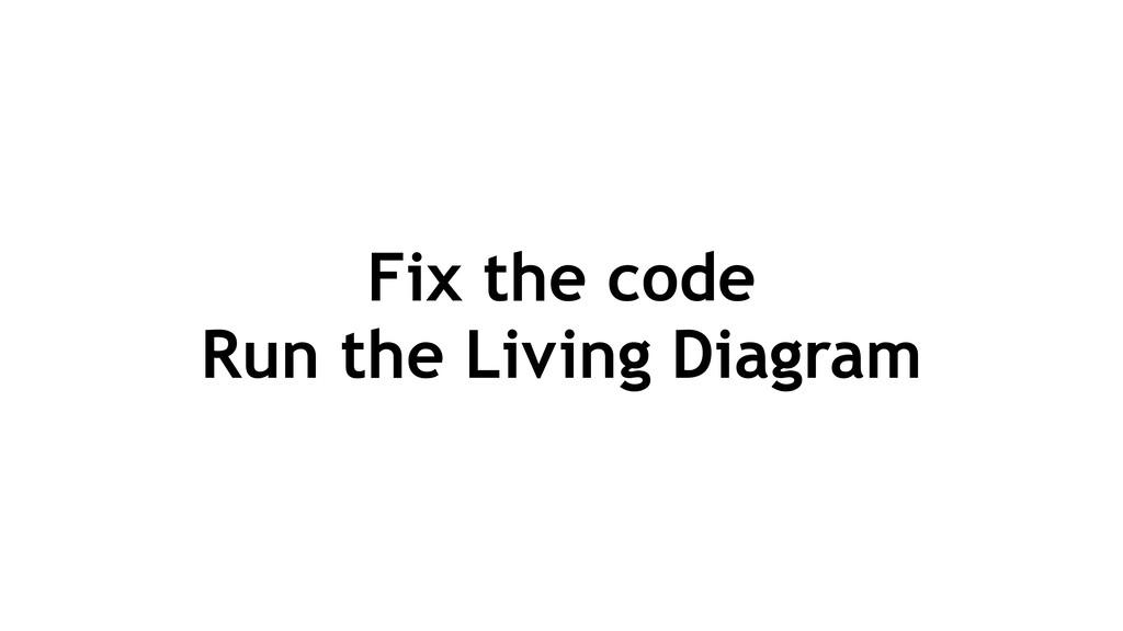 Fix the code Run the Living Diagram