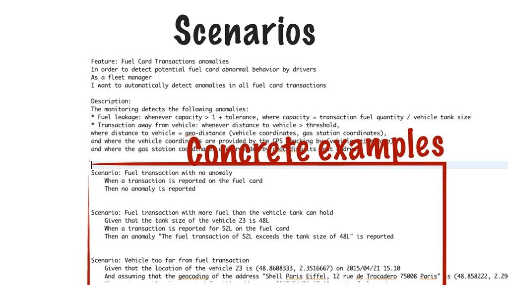 Scenarios Concrete examples