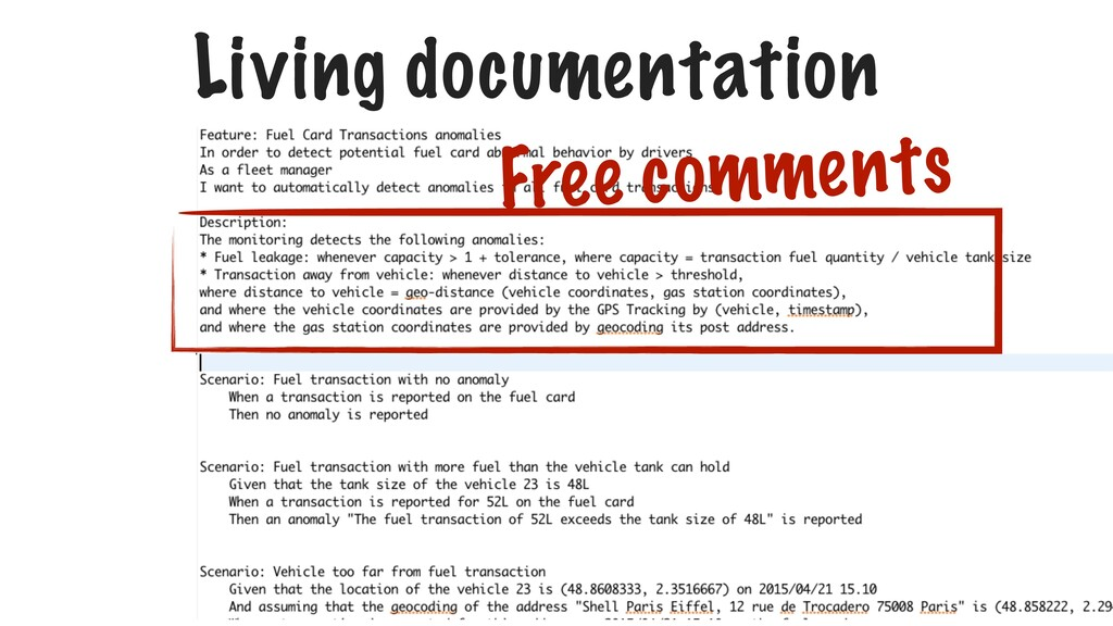 Living documentation Free comments