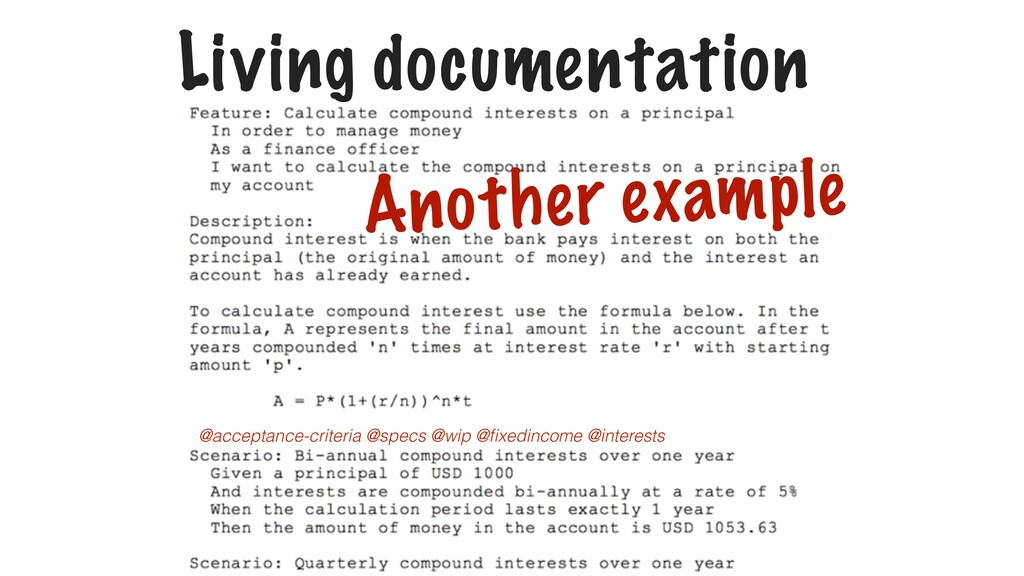 Living documentation Another example @acceptanc...