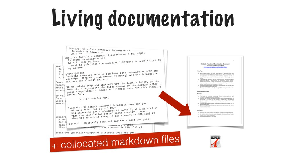 Living documentation + collocated markdown files