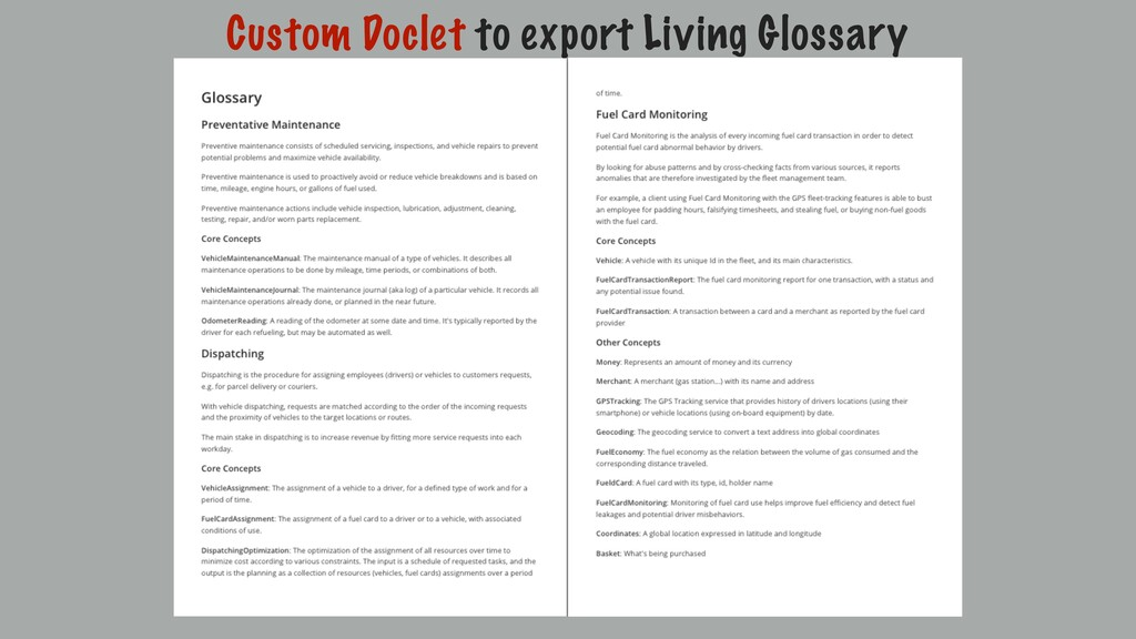 Custom Doclet to export Living Glossary