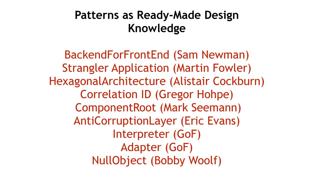 Patterns as Ready-Made Design Knowledge Backend...