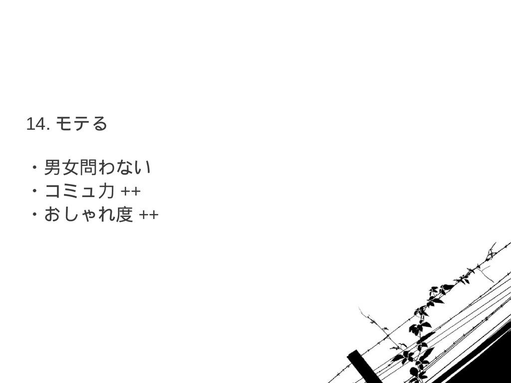 14. モテる ・男女問わない ・コミュ力 ++ ・おしゃれ度 ++