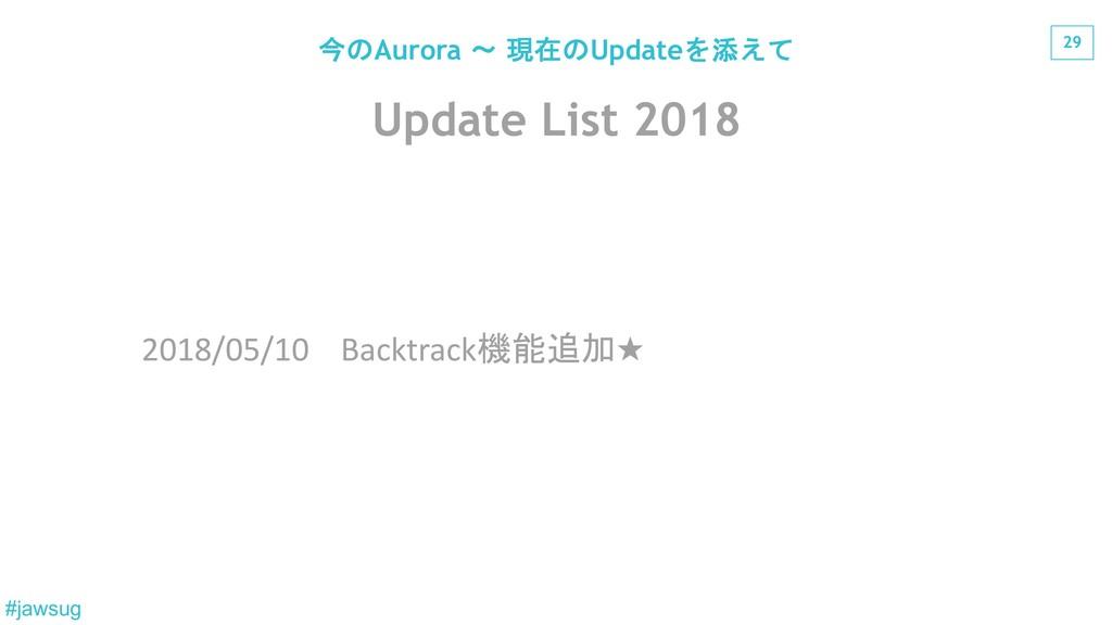 29 #jawsug Update List 2018 2018/05/10 Backtrac...