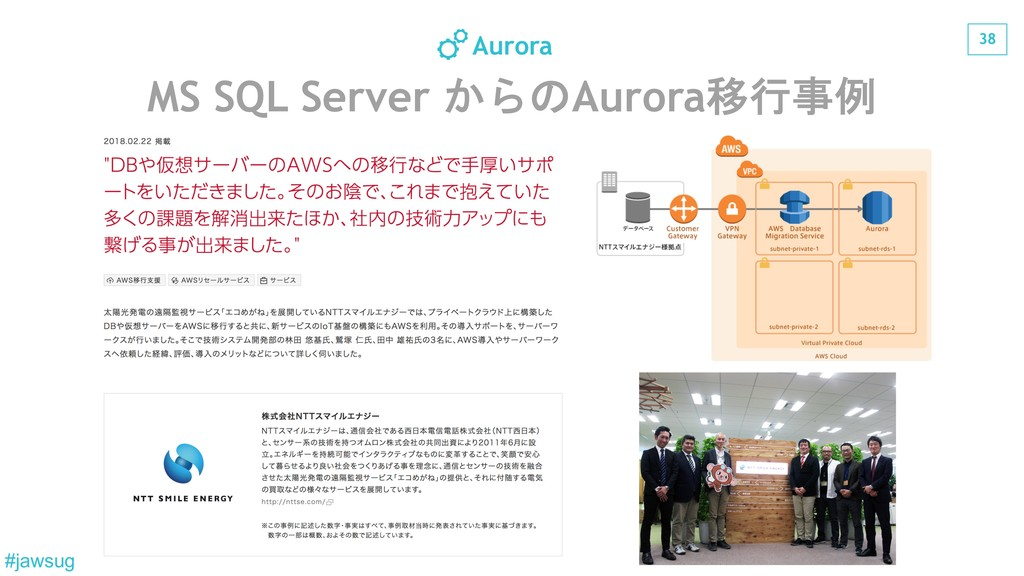 38 #jawsug MS SQL Server Aurora Aurora