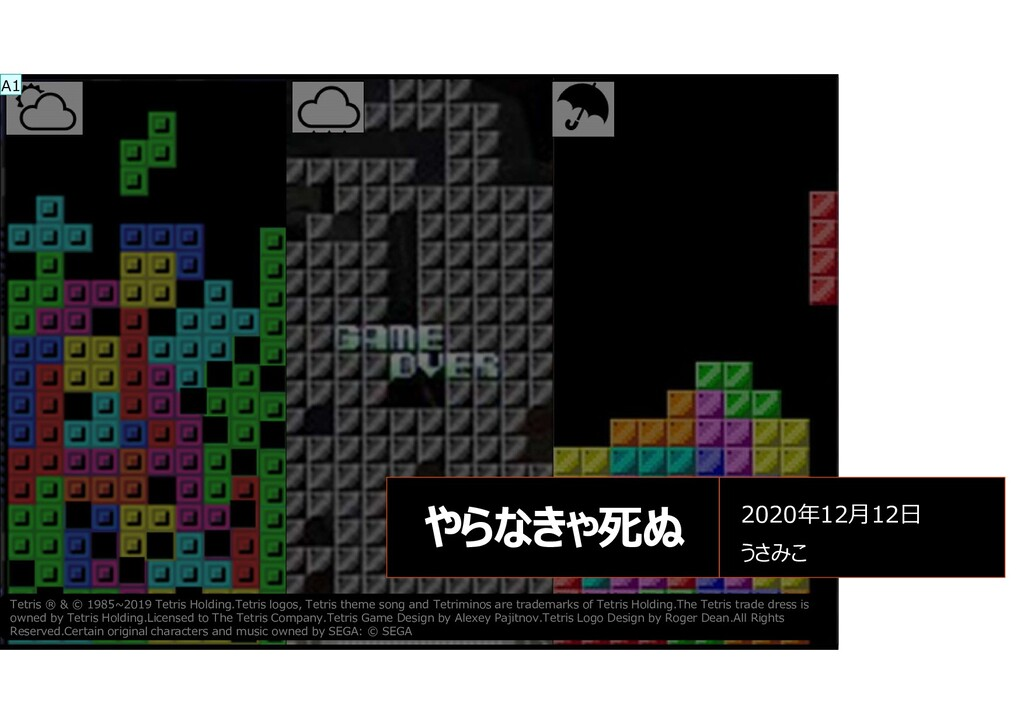 2020情シス振り返りLT会 やらなきゃ死ぬ 2020年12月12日 うさみこ Tetris ...