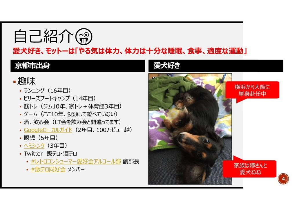 自己紹介 愛犬好き、モットーは「やる気は体力、体力は十分な睡眠、食事、適度な運動」 京都市出身...
