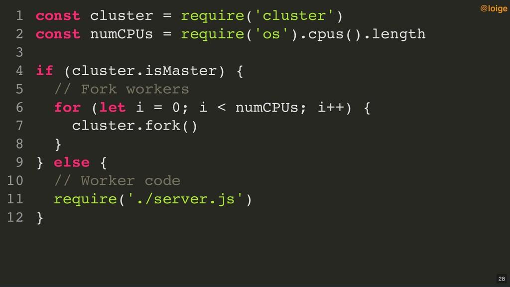 const cluster = require('cluster') const numCPU...