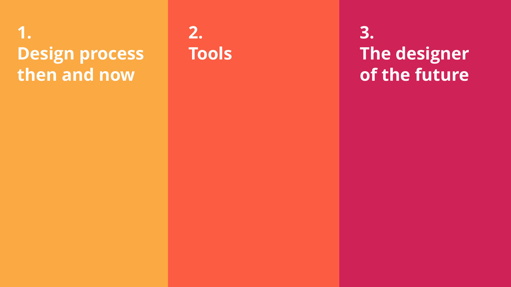 1. Design process then and now 2. Tools 3. The ...