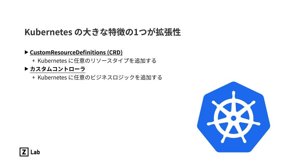 Kubernetes の⼤きな特徴の1つが拡張性 ▶ CustomResourceDefinit...