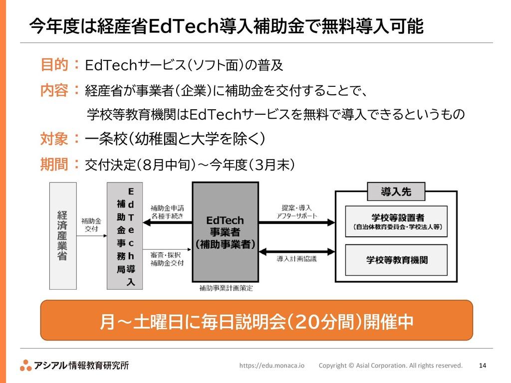 14 今年度は経産省EdTech導入補助金で無料導入可能 目的 : EdTechサービス(ソフ...