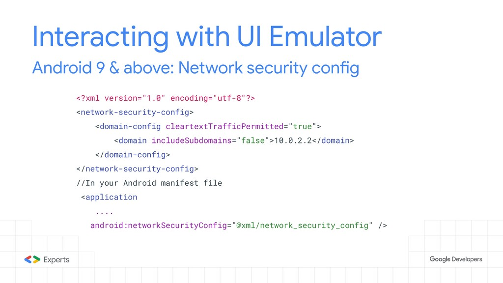 Interacting with UI Emulator Android 9 & above:...