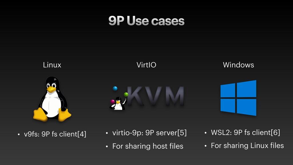 9P Use cases Linux • v9fs: 9P fs client[4] Virt...