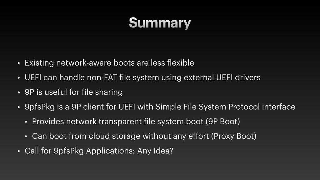 Summary • Existing network-aware boots are less...