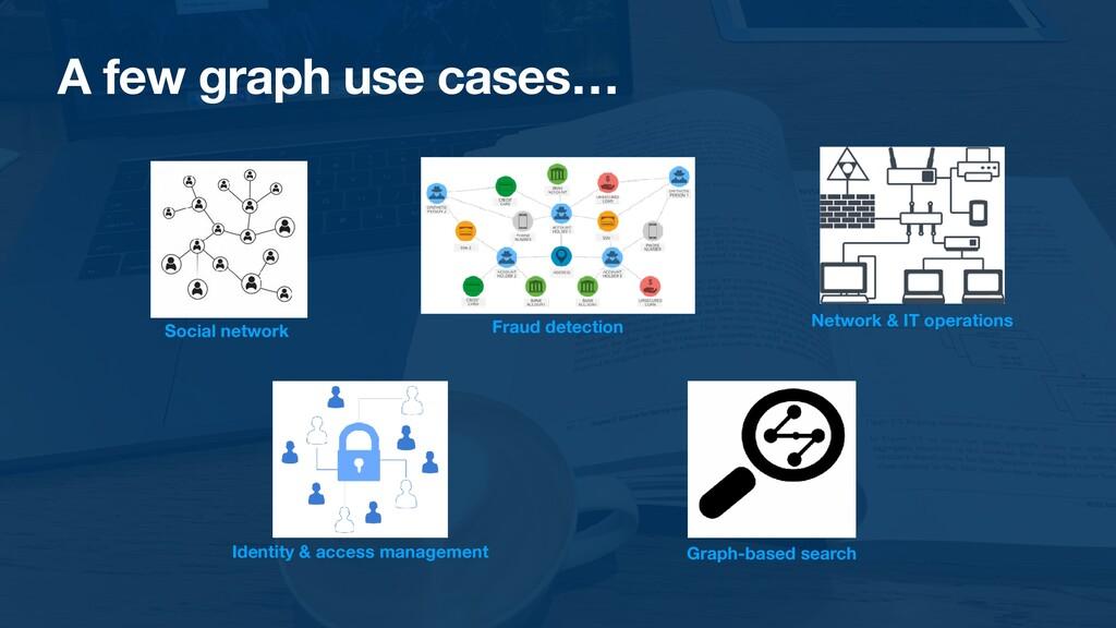 A few graph use cases… Social network Fraud det...
