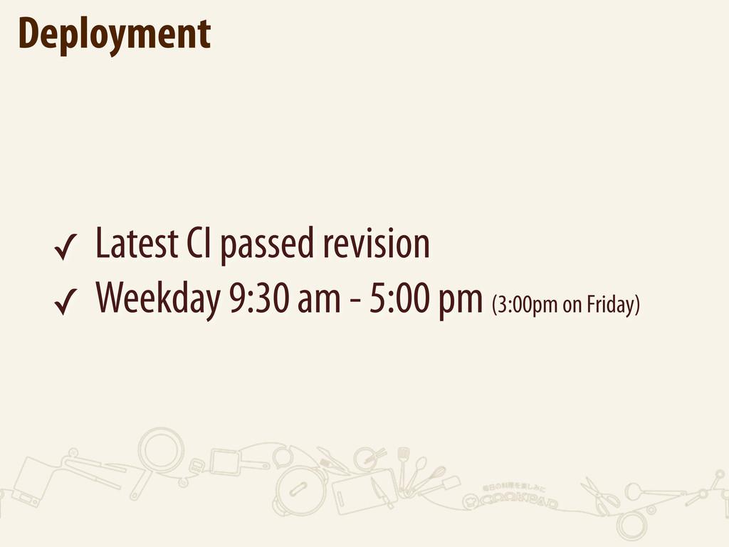 Deployment ✓ Latest CI passed revision ✓ Weekda...