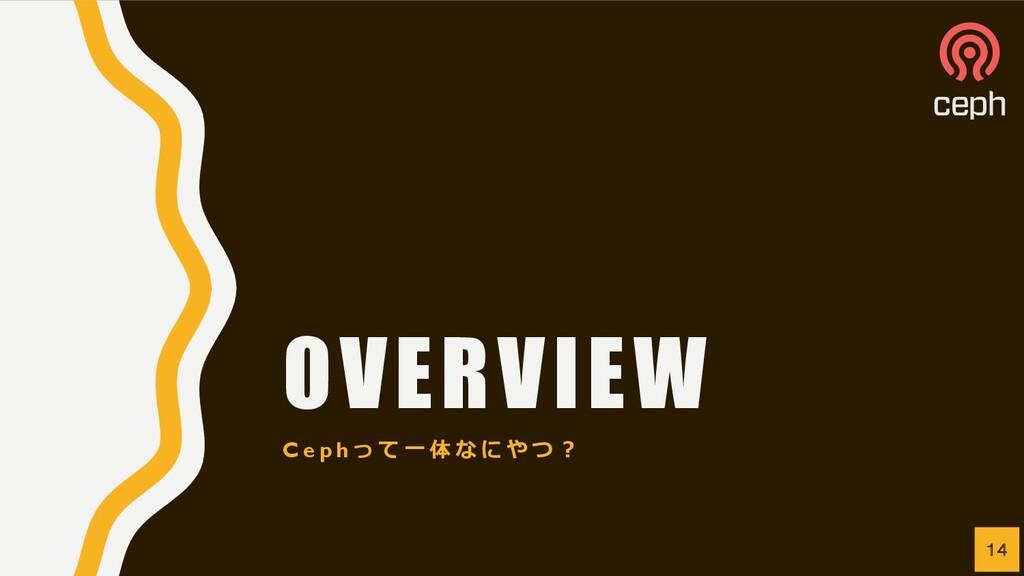 OVERVIEW C e p h っ て ⼀ 体 な に や つ ︖ 14