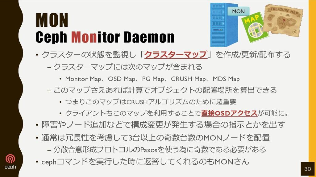 MON Ceph Monitor Daemon • クラスターの状態を監視し「クラスターマップ...
