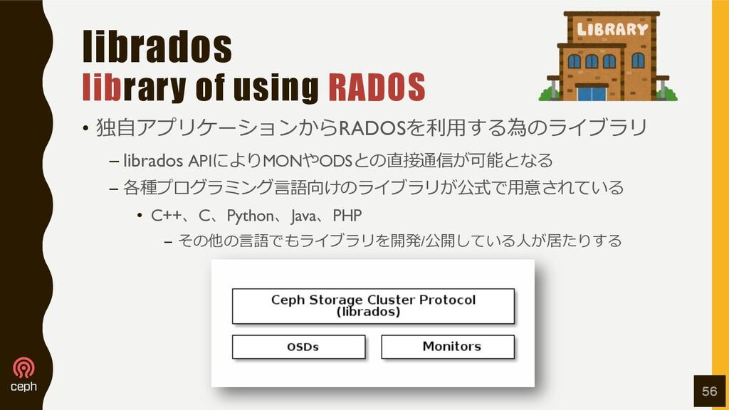 librados library of using RADOS • 独⾃アプリケーションからR...