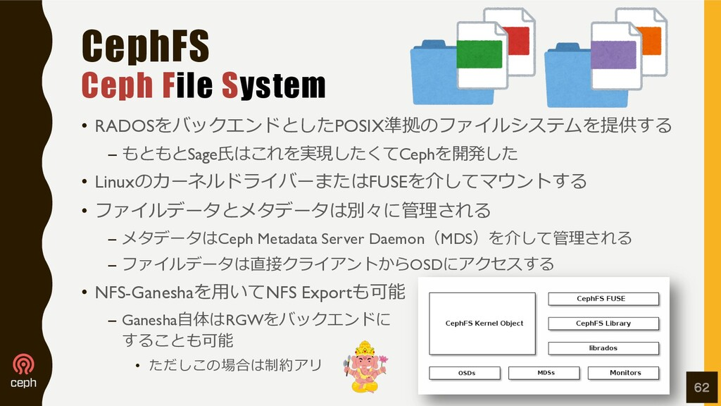 CephFS Ceph File System • RADOSをバックエンドとしたPOSIX準...