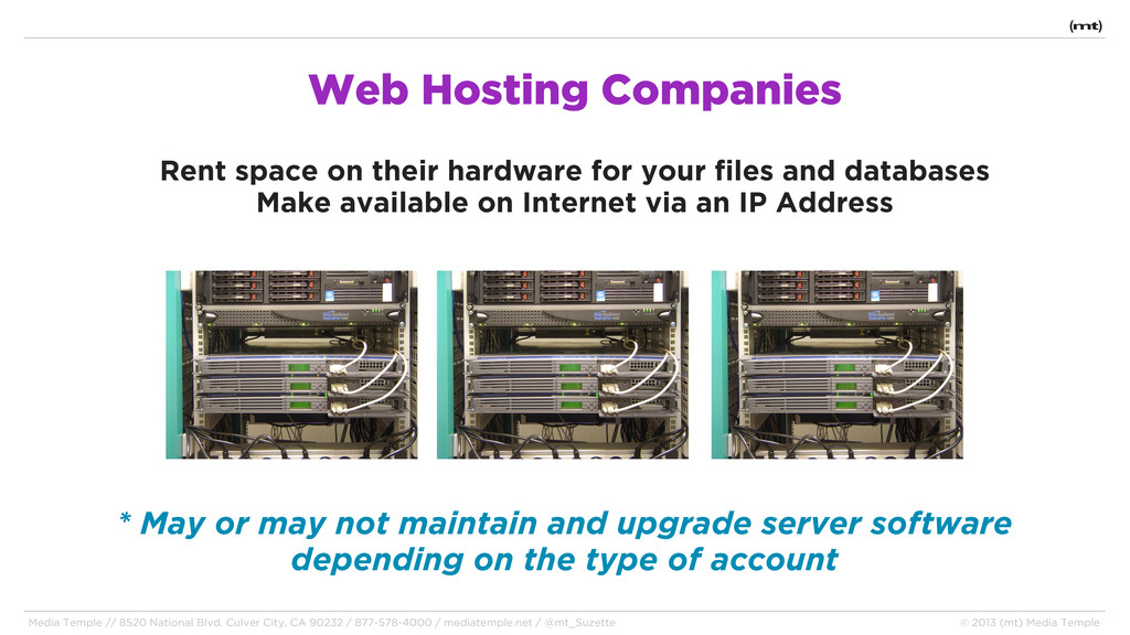 Web Hosting Companies Rent space on their hardw...