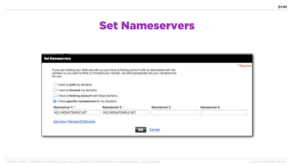 Set Nameservers Media Temple // 8520 National B...